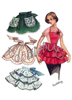 Items similar to Vintage 1956 Apron Pattern Picture Art Print on Watercolor Paper No. 18 on Etsy Retro Apron Patterns, Vintage Apron Pattern, Aprons Vintage, Vintage Sewing Patterns, Dress Patterns, Vintage Outfits, Vintage Fashion, Cute Aprons, Sewing Aprons