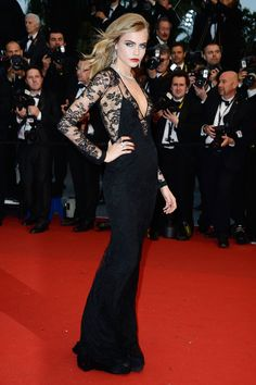 Cara Delevingne wearing a custom silk lace Burberry at Cannes 2013