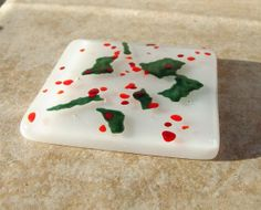 Christmas Fused Glass Tea Light Coaster UK