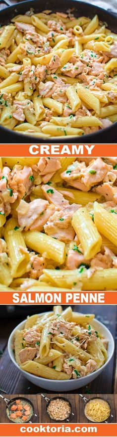 Simple and elegant Creamy Salmon Penne. Saute butter and onion 4 min. Add the salmon and keep cooking for another 5-7 minutes, breaking it into flakes as it cooks. Add the heavy cream, salt, and pepper. Stir and turn off the heat. Add the cooked pasta, Parmigiano Reggiano, and chopped parsley.