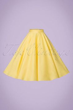 Bunny 50s Paula Swing Skirt in Pastel Yellow online kopen