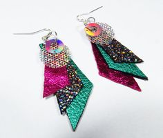 Holographic Earrings Turquoise Hot Pink Earrings Geometric Earrings Metallic Leather Earrings