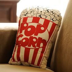 Movie Popcorn Pillow Kirklands Super cute and at only 12 99 this is a great buy Movie Theater Decor, Home Theater Design, Home Theater Seating, Kino Theater, Movie Popcorn, Popcorn Theme, Popcorn Buckets, Home Cinema Room, Pop Corn