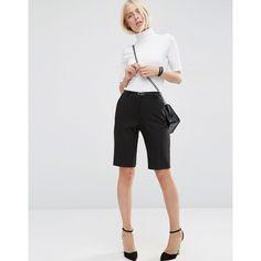 ASOS City Short with Belt ($33) ❤ liked on Polyvore featuring shorts, black, short shorts, woven shorts, slim shorts, mid rise shorts and asos