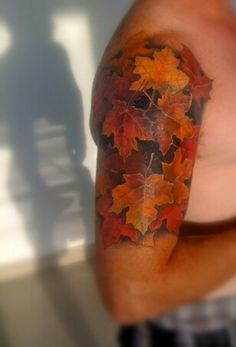 autumn leaves upper arm panel and partial shoulder cap