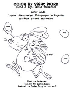 FREE Color by Sight Word Easter Bunny!