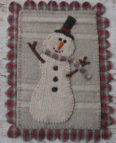 wool applique- would be fun using old sweaters. From Primitive Junky Applique Pillows, Wool Applique, Applique Patterns, Applique Ideas, Felted Wool Crafts, Felt Crafts, Snowman Crafts, Quilting Projects, Sewing Projects