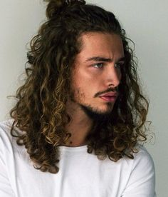13 Best Caesar Haircut Ideas for Guys in 2019 - Style My Hairs Long Curly Hair Men, Long Hair Beard, Man Bun Curly Hair, Men With Long Hair, Man Bun Hairstyles, Boys Long Hairstyles, Hair And Beard Styles, Curly Hair Styles, Natural Hair Styles