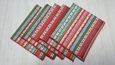 Christmas Napkins Printed Stripes Red White Green Set of 5 Christmas Napkins, Christmas Tablescapes, Christmas Wine Bottles, Bottle Bag, Kid Table, Free Studio, Gift Bags, Red And White, Stripes