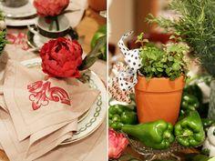 Páscoa - decoração de almoço country chic - porta guardanapo de flor ( Arranjos: Lucia Milan )