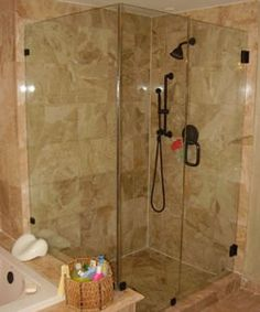 Bypass Door, Seat & Return. Oil Rubbed Bronze hardware w/ Clear Glass ...
