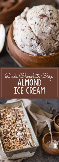 Dark Chocolate Almond Ice Cream - Homemade almond flavored ice cream with delicate flecks of dark chocolate and roasted, salted almonds!