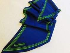 Cacharel  long silk scarf tie  70s blue and by foulardfantastique, $24.00