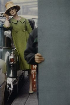 Model in coat by Seymour Fox, photo by Saul Leiter for Harper's Bazaar, Feb. 1959 Model in coat by Seymour Fox, photo by Saul Leiter for Harper's Bazaar, Feb. High Fashion Photography, Glamour Photography, Color Photography, Street Photography, Lifestyle Photography, Editorial Photography, Photography Essentials, Photography Ideas, Saul Leiter