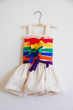 Lotte's dress to make rainbow theme, stripe dress, rainbow stripe