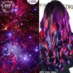 Best Galaxy Hair Color - Bunte haare - Best Galaxy Hair Color - C Cute Hair Colors, Pretty Hair Color, Hair Dye Colors, Grey Balayage, Galaxy Hair Color, Galaxy Colors, Pinterest Hair, Dye My Hair, Mermaid Hair