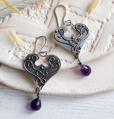 Earrings silver amethyst boho silver earrings dangles