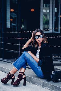 frayed jeans and velvet blazer with platform footwear
