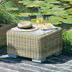 Tuinbijzettafel in gevlochten kunststof B 56 cm