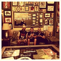 Aloha Tattoos Barcelona summer 2012. From left to right: Rotor, Pablo Etchepare and David Tejero