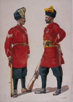 Soldiers of the 5th Light Infantry, Musalman Rajput and the 6th Jat Light Infantry, Jat Havildars, illustration for 'Armies of India' by Major G.F. MacMunn, published in 1911, 1908 Wall Art & Canvas Prints by Alfred Crowdy Lovett
