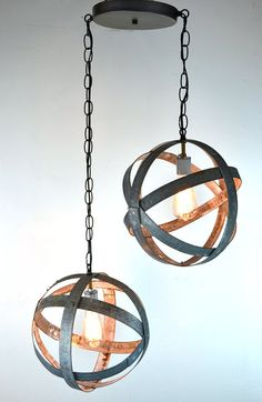 Double Small Atom Wine Barrel Ring Hanging Lantern - 100% RECYCLED on Etsy, $225.00