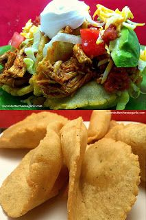 Puffy Chicken Tacos...crispy puffy taco shell filled with delectable shredded chicken and lettuce, tomato, cheese & salsa.  They're darn tasty!