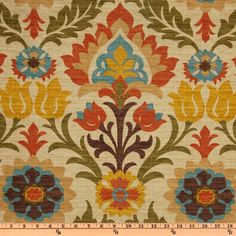Screen printed on cotton duck; this medium weight fabric is very versatile. This fabric is perfect for window treatments (draperies, valances, curtains, and swags), bed skirts, duvet covers, pillow shams, accent pillows, tote bags, aprons, slipcovers and upholstery. Colors include orange, teal, yellow, khaki, olive, teal and brown on a tan background.