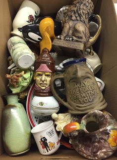 Lot 808: Ceramic Plate, Figurine, Mug and Vase Assortment; Including over fifty items depicting faces and animals