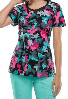 Dickies EDS Signature Camo Pop cut-out print scrub top. Main Image