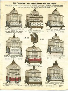 Edwardian Bird Cage catalogue circa 1910. BIRDCAGES / ANTIQUE BIRDCAGES : More At FOSTERGINGER @ Pinterest