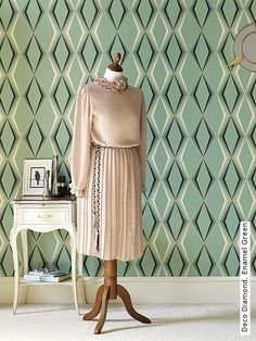 e7ba7f58efdd Bild  Tapeten - Deco Diamond, Enamel Green Moderne Tapeten, Tapeten Der  70er,
