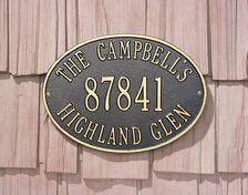 """Whitehall Hawthorne Oval Estate Wall Address Plaque Three Lines by Whitehall. $169.99. Three Line Version:Line 1 holds up to seventeen 1.75"""" characters Line 2 holds up to five 4.5"""" numbers Line 3 holds up to seventeen 1.75"""" characters **Three Line Version represents top, middle and bottom lines**"""