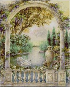 Lena Liu - Garden of Paradise - Swan Duet - Complete colection of art, limited editions, prints, posters and custom framing on sale now at Prints. Paradise Garden, Poster Prints, Art Prints, Mural Painting, Painting Lessons, Pretty Pictures, Landscape Paintings, Decoupage, Scenery