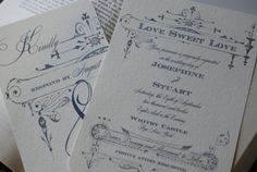 country chic wedding invitations | Country Chic Vintage Wedding French Invitation by delightedparcels on ...