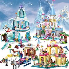 Discount Up to Princess Serie Elsa Magical Ice Castle Set Educational Building Block Bricks Toy for kids Compatible legoe Friends Frozen Disney, Christmas Gifts For Kids, Kids Gifts, Toys For Girls, Kids Toys, Ice Castles, Building Blocks Toys, Lego Friends, Model Building