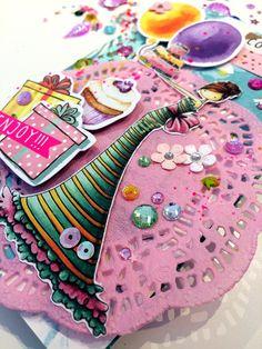 Tarjeta scrapbooking felicitación de cumpleaños hecha a mano (vídeo paso a paso) Scrapbooking Ideas, Cinderella, Mixed Media, Simple, Desserts, Birthday Congratulations, Greeting Card, Step By Step, Day Planners