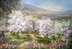 LIVADA-NINSA-CU-FLORI-100X70-CM- PREZENTARE Beautiful Paintings, Beautiful Landscapes, Beautiful Gardens, Antonio Lucio Vivaldi, Landscape Art, Landscape Paintings, Image Nature Fleurs, Images Vintage, Garden Painting
