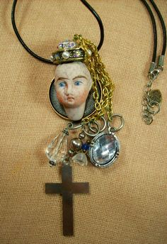 Frozen Charlotte Charlie Creepy Baby Doll Head Necklace by louzart on Etsy, $70.00