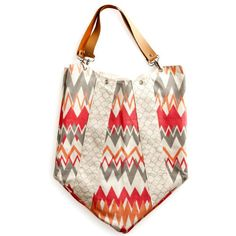 Boho ZigZag Coral, Pink and caramel leather Bohemian Ikat Hobo HandBag with detachable leather strap Machine Washable Great Diaper Bag $45