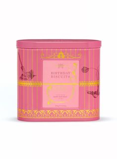 """""""This pretty pink Birthday Biscuit Tin has many charming attribute Biscuits Packaging, Tea Packaging, Food Packaging Design, Cookie Packaging, Pretty Packaging, Tea Gift Sets, Tea Gifts, Food Gifts, Food Hampers"""