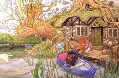 Wind in the Willows - Ratty and Mole Original illustration by Angel Dominguez Pen and ink and watercolour on paper. Signed. Spain, c.1990 - c.2010
