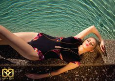 Poolside editorial published in Ellements Magazine, August 2013  Izzy wears Floralescence Wetsuit Paneled Onepiece