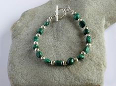 Green Malachite and Silver Plated Beaded Bracelet £18.00