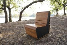 The Stepping Out Chair has a #ecofreindlydesign made from Richlite end caps and afromosia hardwood cladding and is here featured in #prospectpark.#reuse #ecofriendly #greenbiz #greendesign