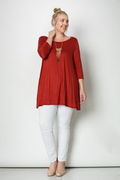 3/4 Sleeves A-Line Tunic Plus Size Top 95%RAYON 5%SPAN