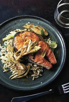 © Quentin Bacon  Salmon Steaks with Curried Fennel-Wine Sauce Recipe  Contributed by Marcia Kiesel  Click here for full recipe
