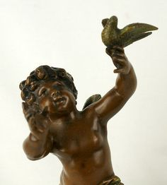 Moreau Cold Cast Bronze Sculpture - Cherub with Bird from #UdderlyGoodStuff. Shop all of our antiques and vintage finds today! http://stores.ebay.com/Udderly-Good-Stuff/_i.html?rt=nc&_pgn=3&_ipg=48