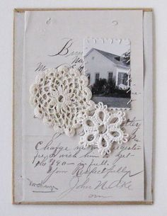 Mixed media collage on book cover, Home and Lace, vintage. $40.00, via Etsy.