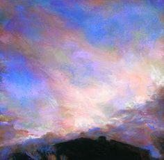 """SUNSET BEYOND THE HOUSE"" - 4 1/2"" x 4 1/2"" sunset pastel by Susan Roden©; http://www.susanroden.blogspot.com"
